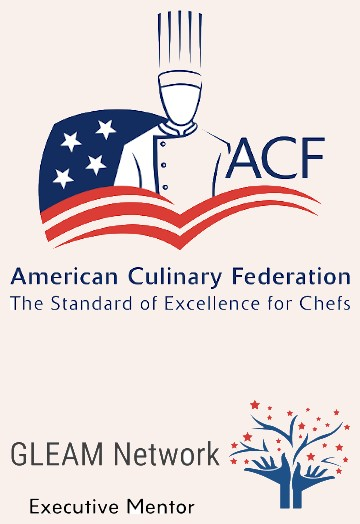The logos for the American Culinary Federation and the Gleam Network show that Chef Michael Davis is the real deal.