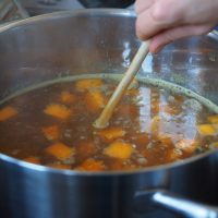 Stirring up the homemade Beef Stock
