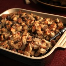 Chestnut Stuffing served in an elegant setting