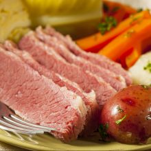 Classic Corned Beef and Cabbage with carrots and potatoes