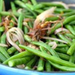 A bowl of Italian Green Beans with Bermuda Onions