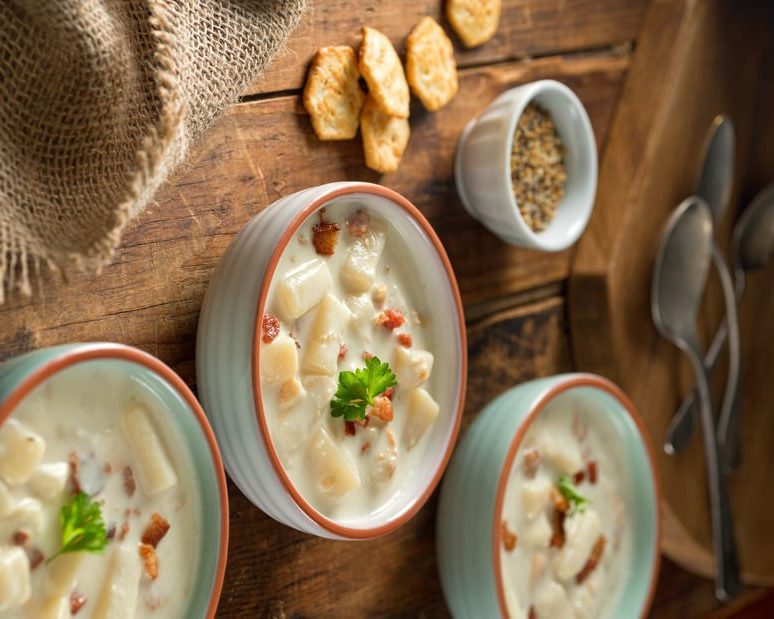 A few bowls of delicious Oyster Stew with crackers