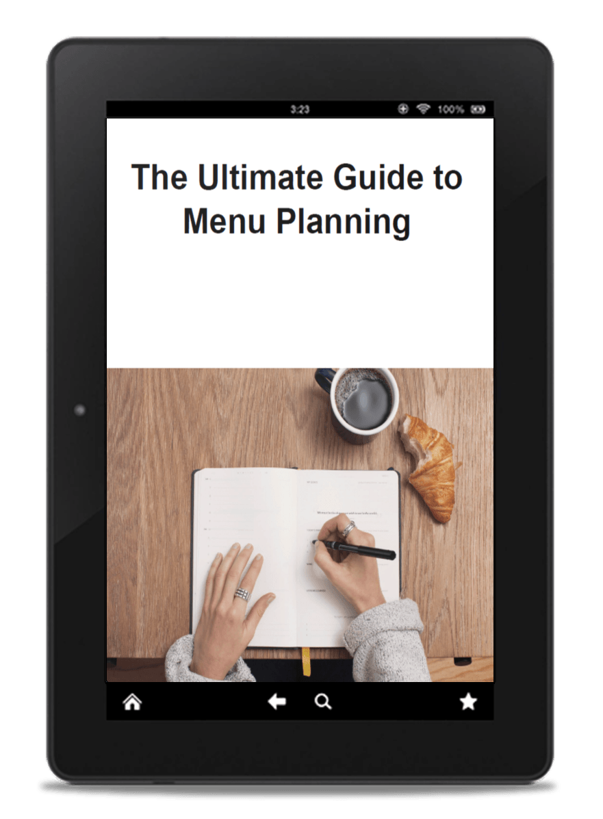 The cover of the Ultimate Guide to Menu Planning displayed on a tablet.
