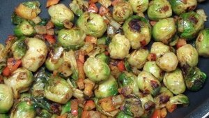 brussel sprout hash in the pan
