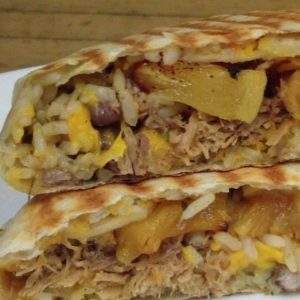 pork and caramelized pineapple burrito